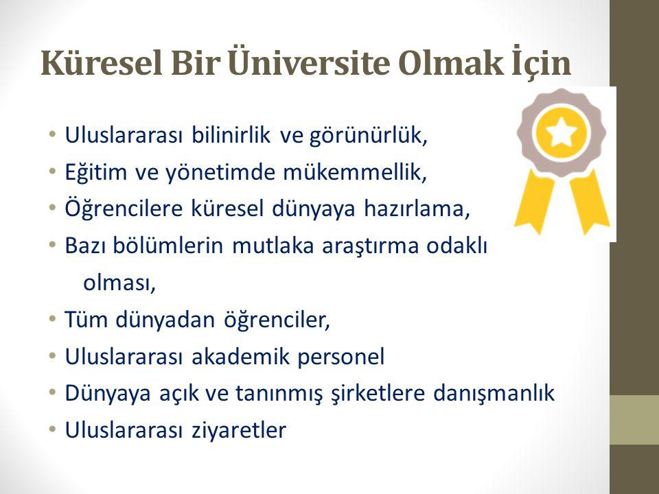 Küresel Bir Üniversite Olmak İçin Uluslararası bilinirlik ve görünürlük, Eğitim ve yönetimde mükemmellik, Öğrencilere küresel dünyaya hazırlama, Bazı