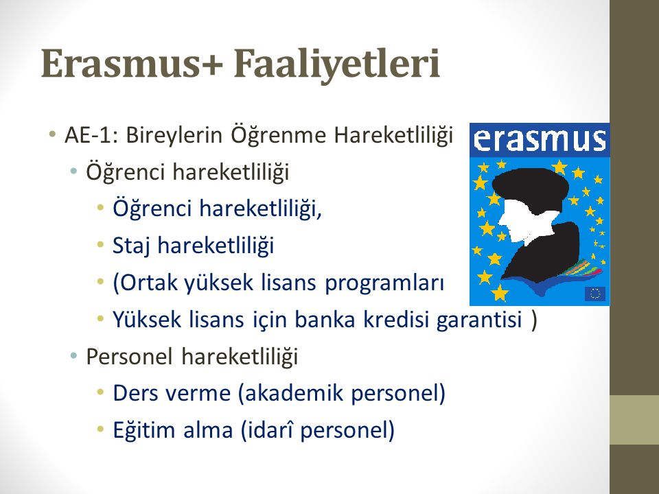 Erasmus+ Faaliyetleri AE-1: Bireylerin Öğrenme Hareketliliği Öğrenci hareketliliği Öğrenci hareketliliği, Staj hareketliliği (Ortak yüksek lisans prog