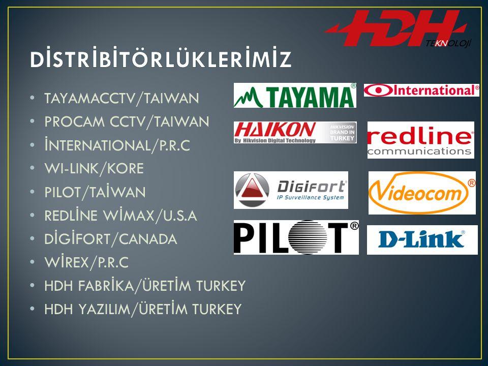 TAYAMACCTV/TAIWAN PROCAM CCTV/TAIWAN İ NTERNATIONAL/P.R.C WI-LINK/KORE PILOT/TA İ WAN REDL İ NE W İ MAX/U.S.A D İ G İ FORT/CANADA W İ REX/P.R.C HDH FABR İ KA/ÜRET İ M TURKEY HDH YAZILIM/ÜRET İ M TURKEY