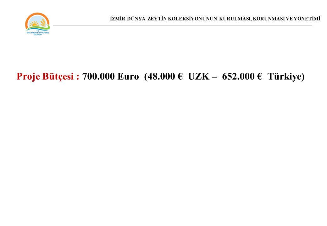 Proje Bütçesi : 700.000 Euro (48.000 € UZK – 652.000 € Türkiye) İZMİR DÜNYA ZEYTİN KOLEKSİYONUNUN KURULMASI, KORUNMASI VE YÖNETİMİ
