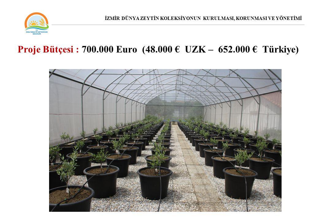 Proje Bütçesi : 700.000 Euro (48.000 € UZK – 652.000 € Türkiye) İZMİR DÜNYA ZEYTİN KOLEKSİYONUN KURULMASI, KORUNMASI VE YÖNETİMİ