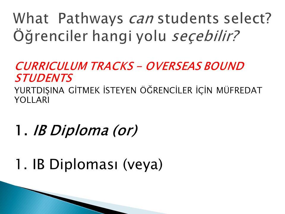 CURRICULUM TRACKS - OVERSEAS BOUND STUDENTS YURTDIŞINA GİTMEK İSTEYEN ÖĞRENCİLER İÇİN MÜFREDAT YOLLARI 1.
