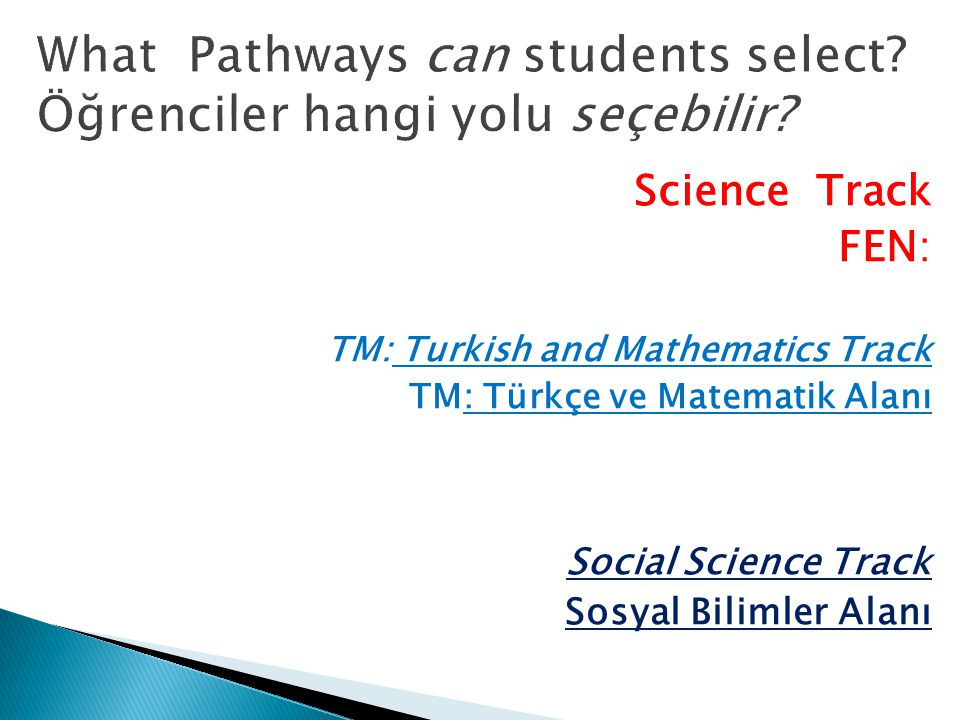 Science Track FEN: TM: Turkish and Mathematics Track TM: Türkçe ve Matematik Alanı Social Science Track Sosyal Bilimler Alanı