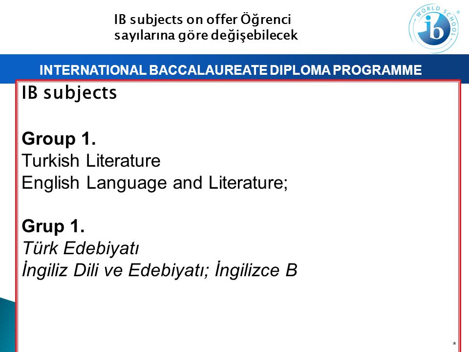 INTERNATIONAL BACCALAUREATE DIPLOMA PROGRAMME IB subjects Group 1. Turkish Literature English Language and Literature; Grup 1. Türk Edebiyatı İngiliz