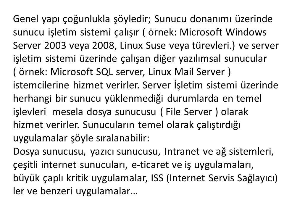 Genel yapı çoğunlukla şöyledir; Sunucu donanımı üzerinde sunucu işletim sistemi çalışır ( örnek: Microsoft Windows Server 2003 veya 2008, Linux Suse v
