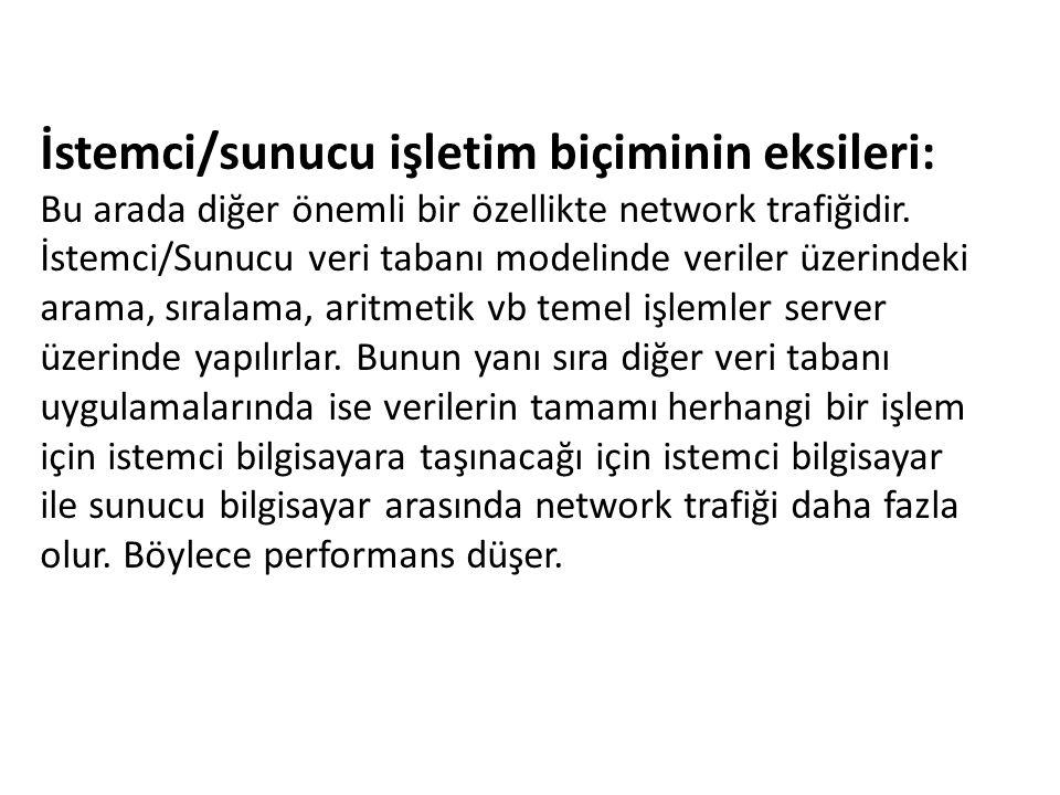 İstemci/sunucu işletim biçiminin eksileri: Bu arada diğer önemli bir özellikte network trafiğidir. İstemci/Sunucu veri tabanı modelinde veriler üzerin