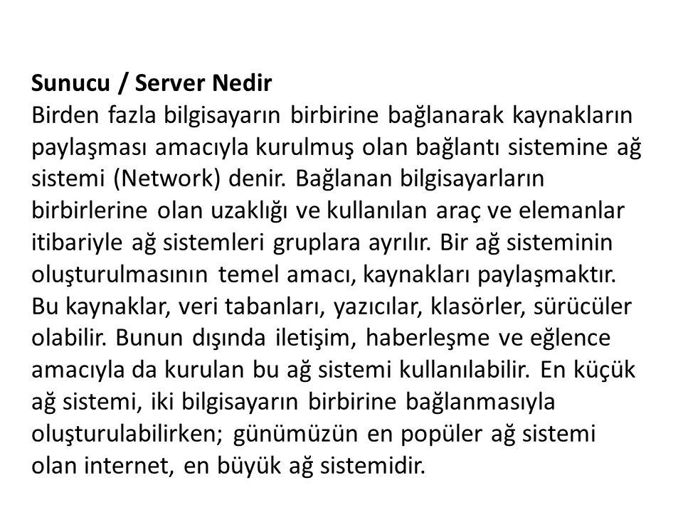 Sunucu / Server Nedir Birden fazla bilgisayarın birbirine bağlanarak kaynakların paylaşması amacıyla kurulmuş olan bağlantı sistemine ağ sistemi (Netw