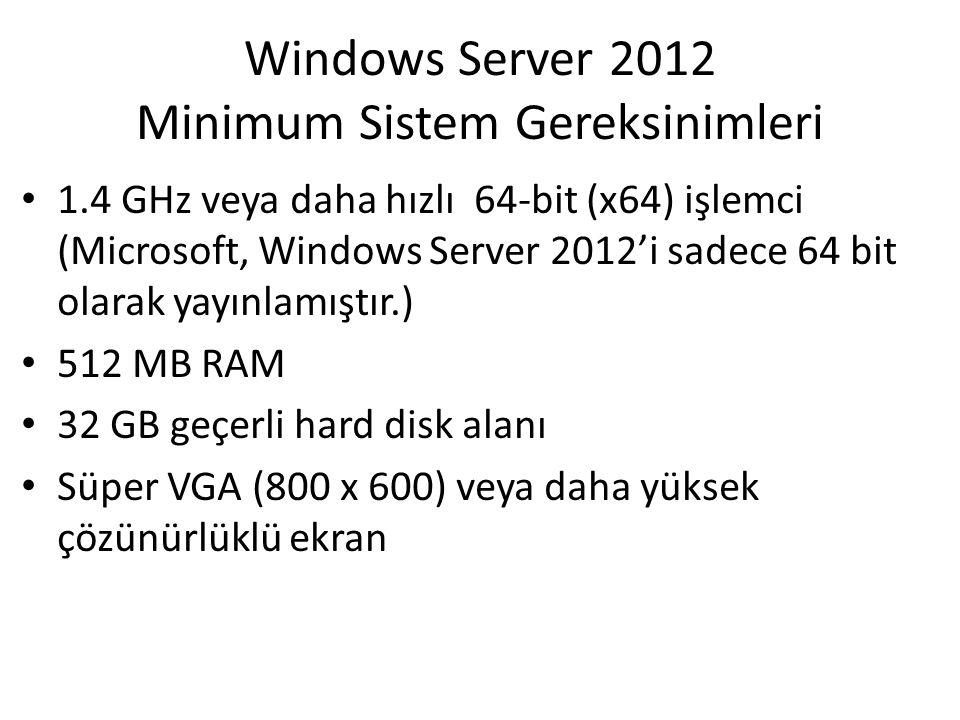 Windows Server 2012 Minimum Sistem Gereksinimleri 1.4 GHz veya daha hızlı 64-bit (x64) işlemci (Microsoft, Windows Server 2012'i sadece 64 bit olarak