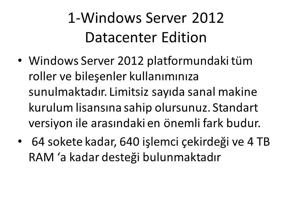 1-Windows Server 2012 Datacenter Edition Windows Server 2012 platformundaki tüm roller ve bileşenler kullanımınıza sunulmaktadır. Limitsiz sayıda sana