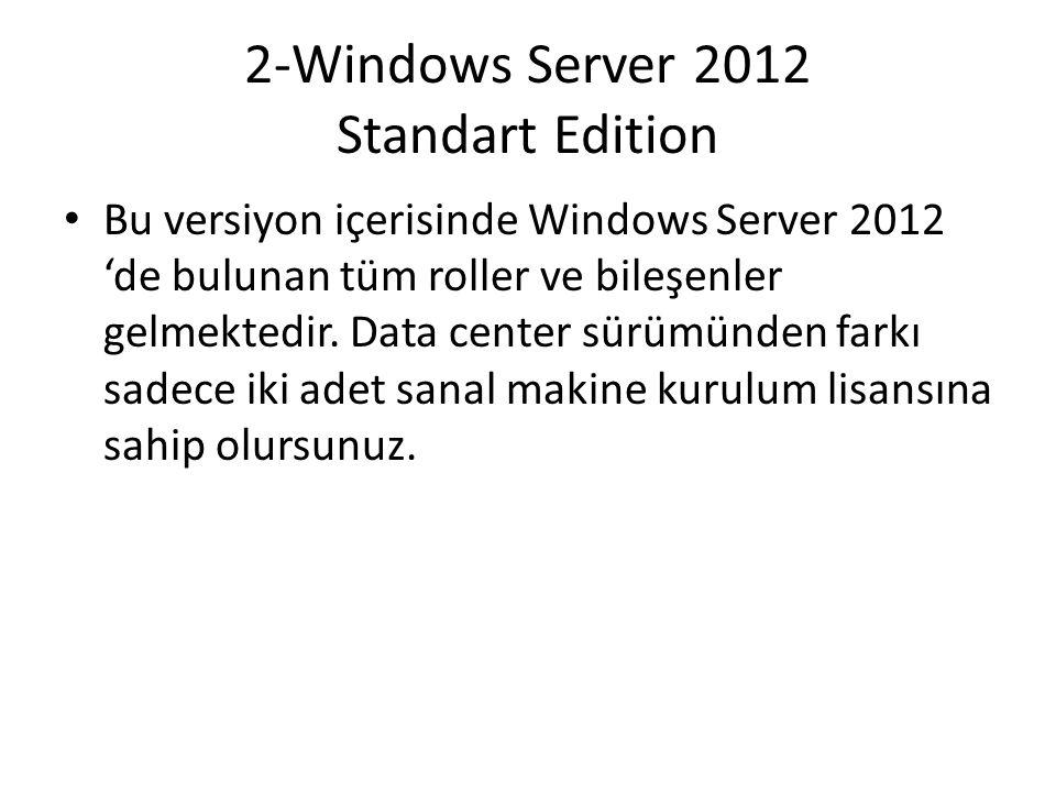 2-Windows Server 2012 Standart Edition Bu versiyon içerisinde Windows Server 2012 'de bulunan tüm roller ve bileşenler gelmektedir. Data center sürümü