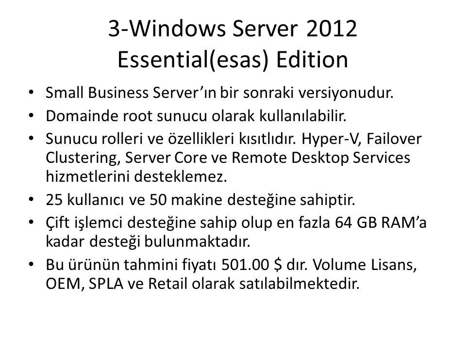 3-Windows Server 2012 Essential(esas) Edition Small Business Server'ın bir sonraki versiyonudur. Domainde root sunucu olarak kullanılabilir. Sunucu ro