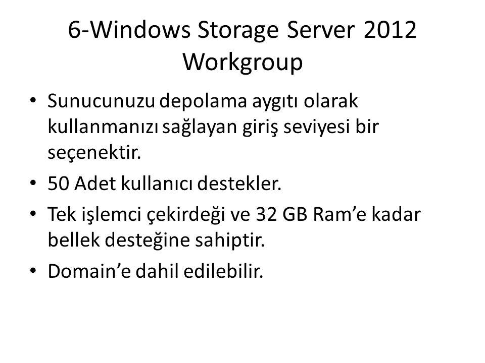 6-Windows Storage Server 2012 Workgroup Sunucunuzu depolama aygıtı olarak kullanmanızı sağlayan giriş seviyesi bir seçenektir. 50 Adet kullanıcı deste