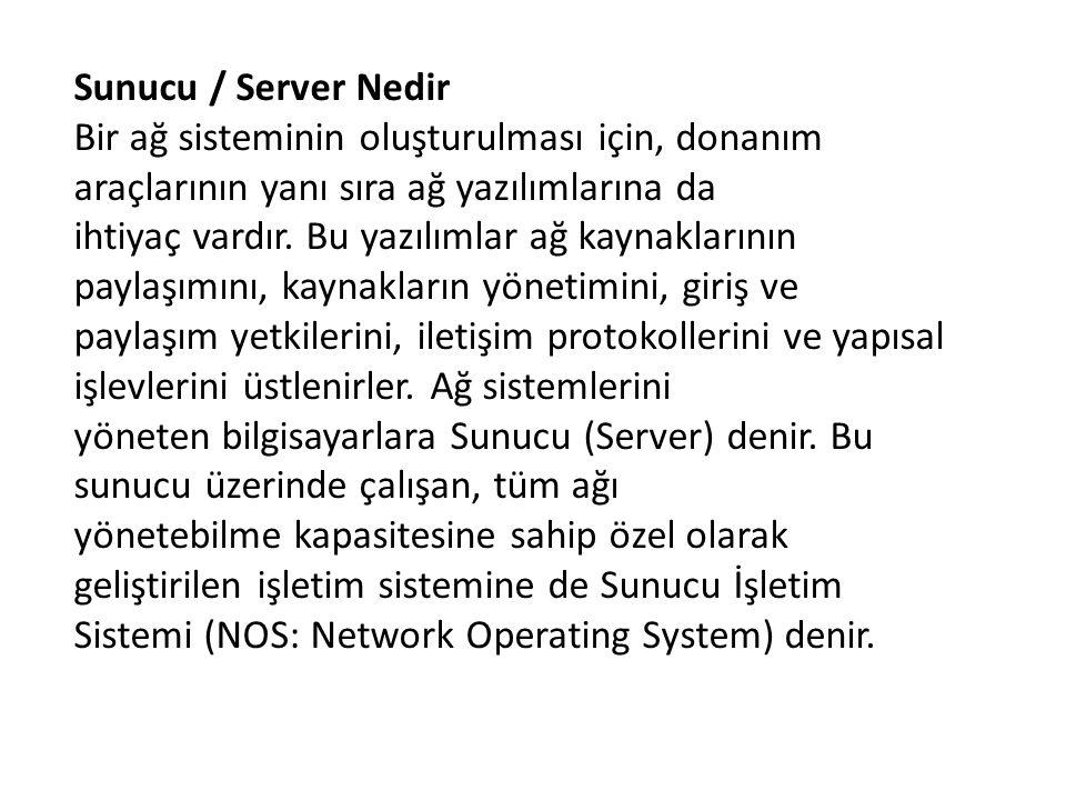 Sunucu / Server Nedir Bir ağ sisteminin oluşturulması için, donanım araçlarının yanı sıra ağ yazılımlarına da ihtiyaç vardır. Bu yazılımlar ağ kaynakl