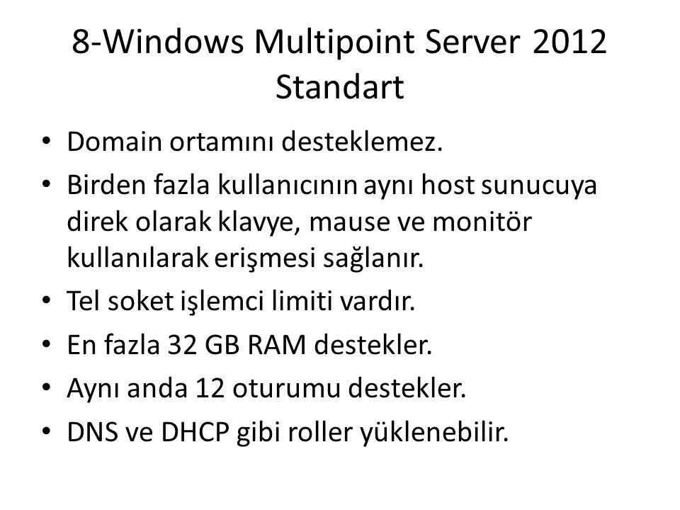 8-Windows Multipoint Server 2012 Standart Domain ortamını desteklemez. Birden fazla kullanıcının aynı host sunucuya direk olarak klavye, mause ve moni