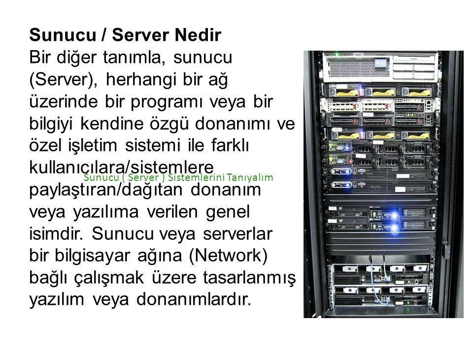 Sunucu ( Server ) Sistemlerini Tanıyalım Sunucu / Server Nedir Bir diğer tanımla, sunucu (Server), herhangi bir ağ üzerinde bir programı veya bir bilg