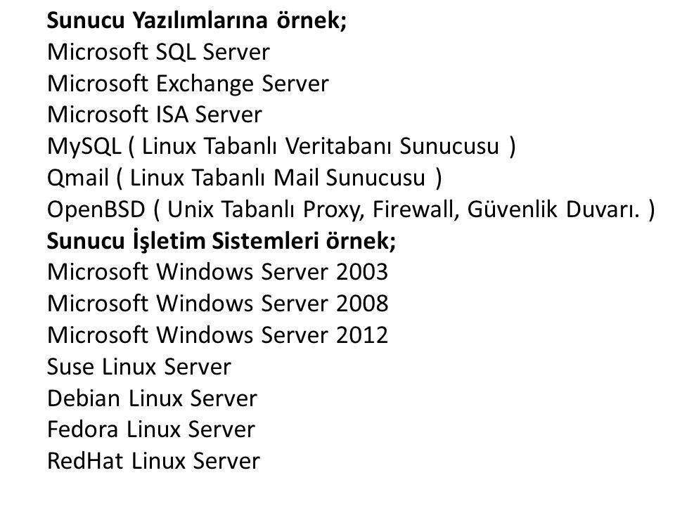Sunucu Yazılımlarına örnek; Microsoft SQL Server Microsoft Exchange Server Microsoft ISA Server MySQL ( Linux Tabanlı Veritabanı Sunucusu ) Qmail ( Li