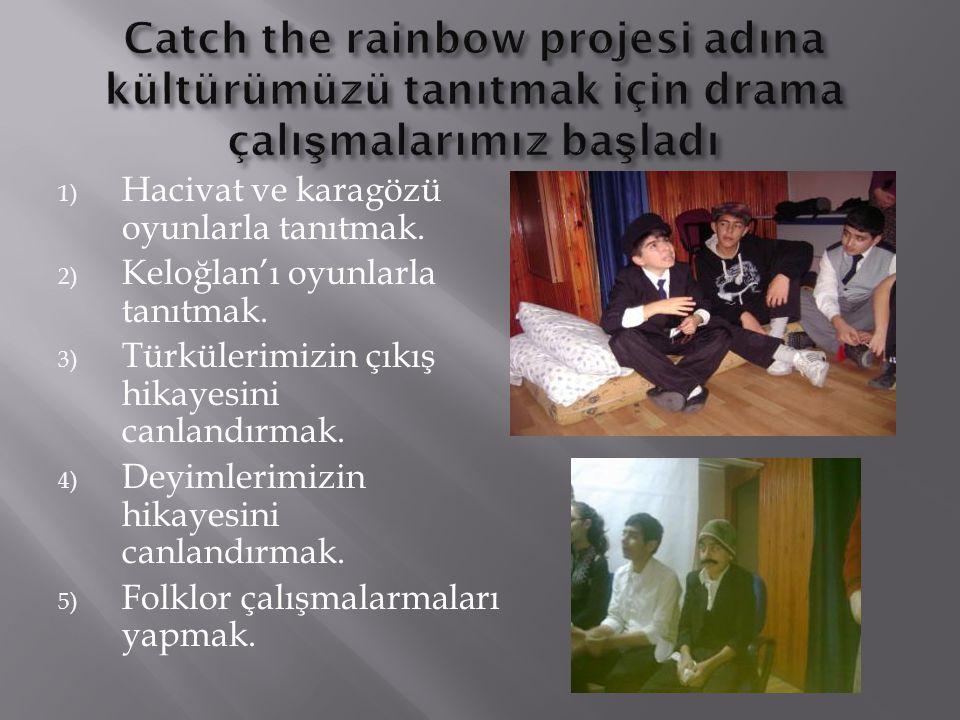 1) Hacivat ve karagözü oyunlarla tanıtmak. 2) Keloğlan'ı oyunlarla tanıtmak. 3) Türkülerimizin çıkış hikayesini canlandırmak. 4) Deyimlerimizin hikaye