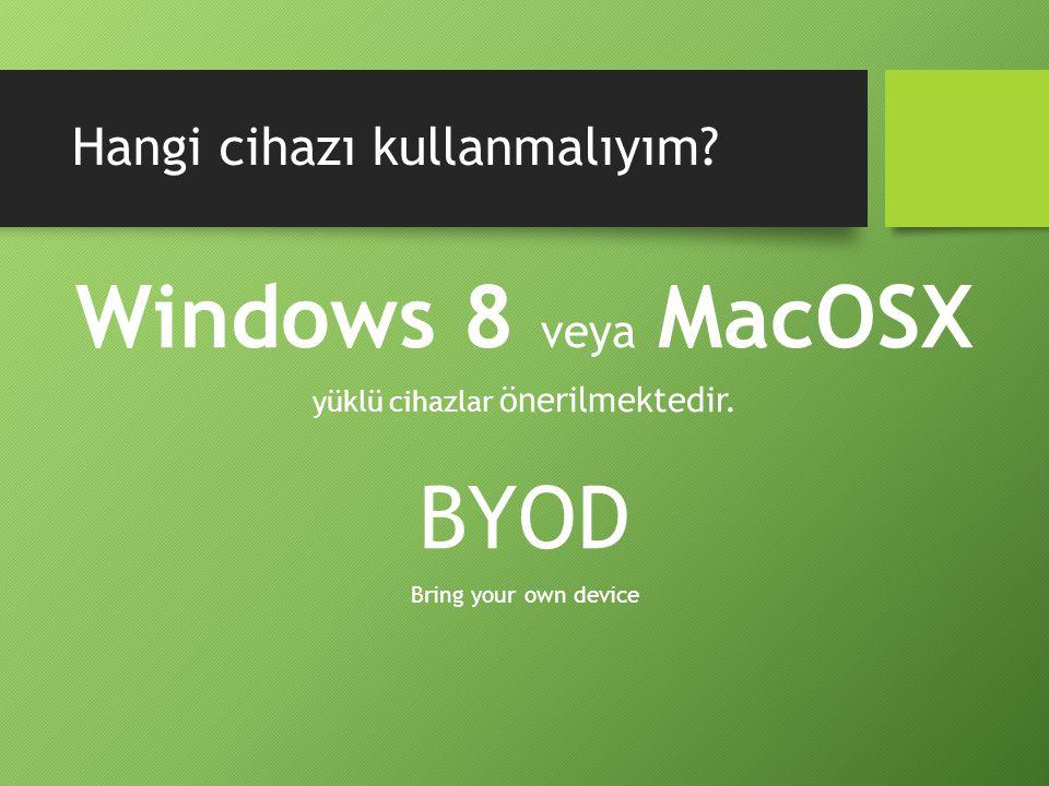 Hangi cihazı kullanmalıyım. Windows 8 veya MacOSX yüklü cihazlar önerilmektedir.