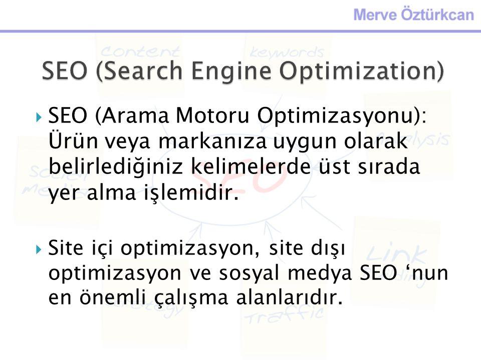  SEO (Arama Motoru Optimizasyonu): Ürün veya markanıza uygun olarak belirlediğiniz kelimelerde üst sırada yer alma işlemidir.  Site içi optimizasyon