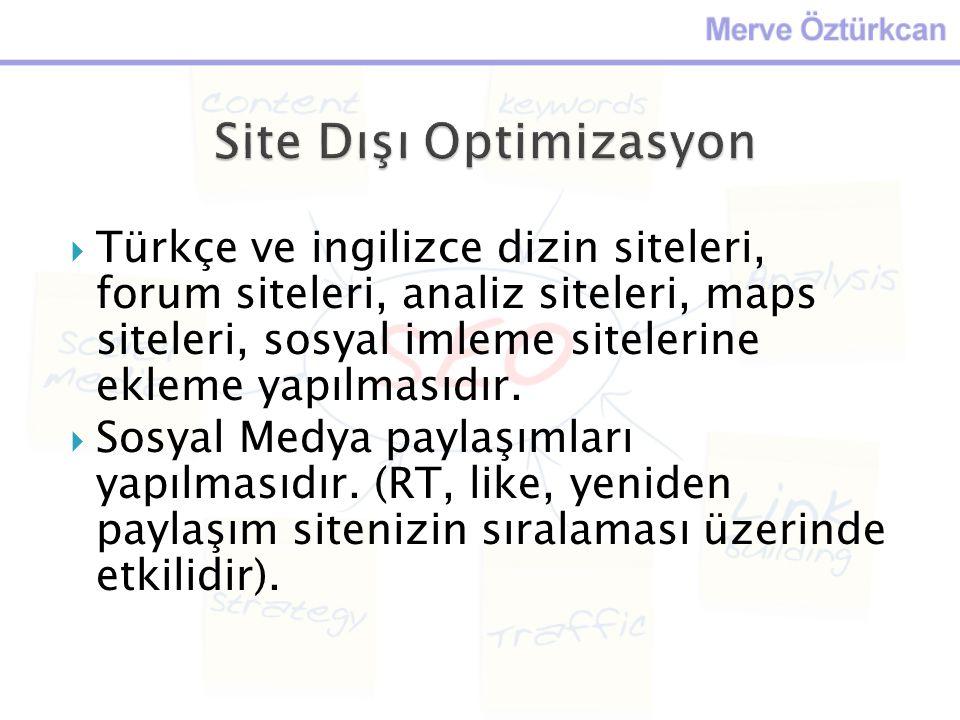  Türkçe ve ingilizce dizin siteleri, forum siteleri, analiz siteleri, maps siteleri, sosyal imleme sitelerine ekleme yapılmasıdır.  Sosyal Medya pay