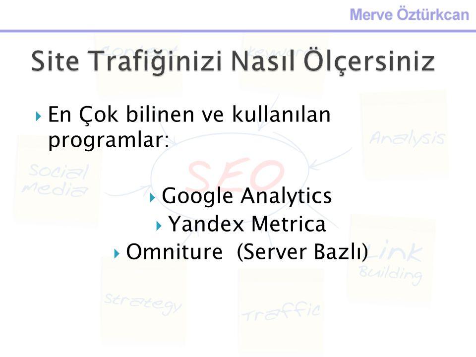 En Çok bilinen ve kullanılan programlar:  Google Analytics  Yandex Metrica  Omniture (Server Bazlı)