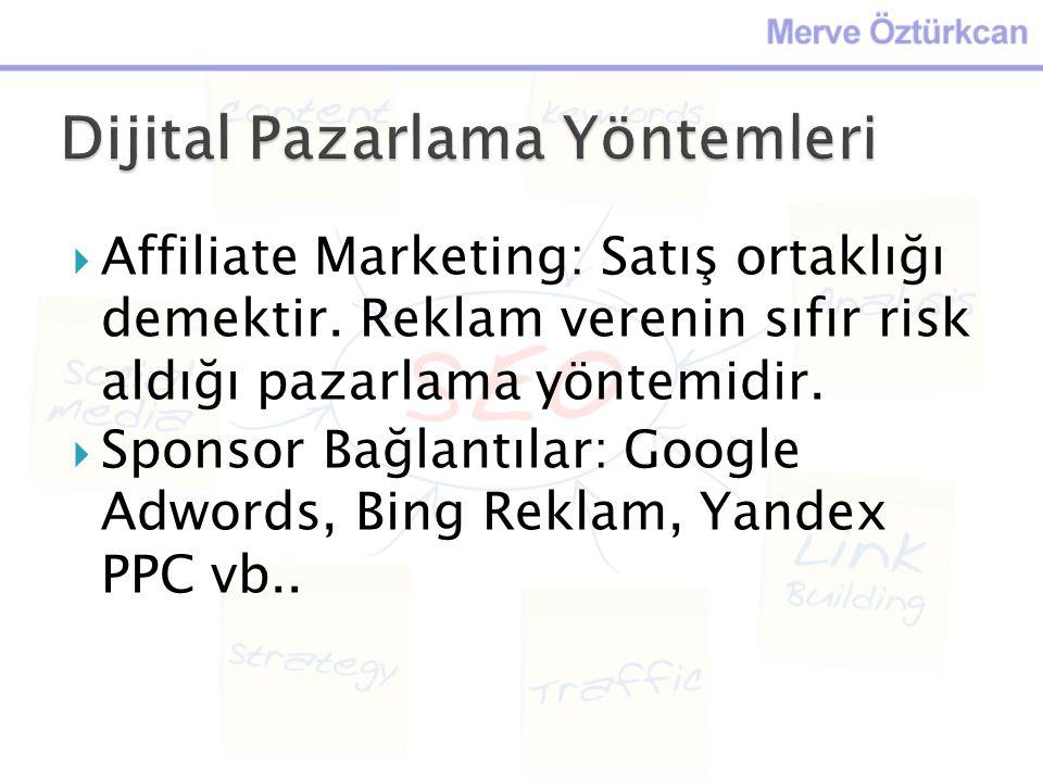 Affiliate Marketing: Satış ortaklığı demektir. Reklam verenin sıfır risk aldığı pazarlama yöntemidir.  Sponsor Bağlantılar: Google Adwords, Bing Re