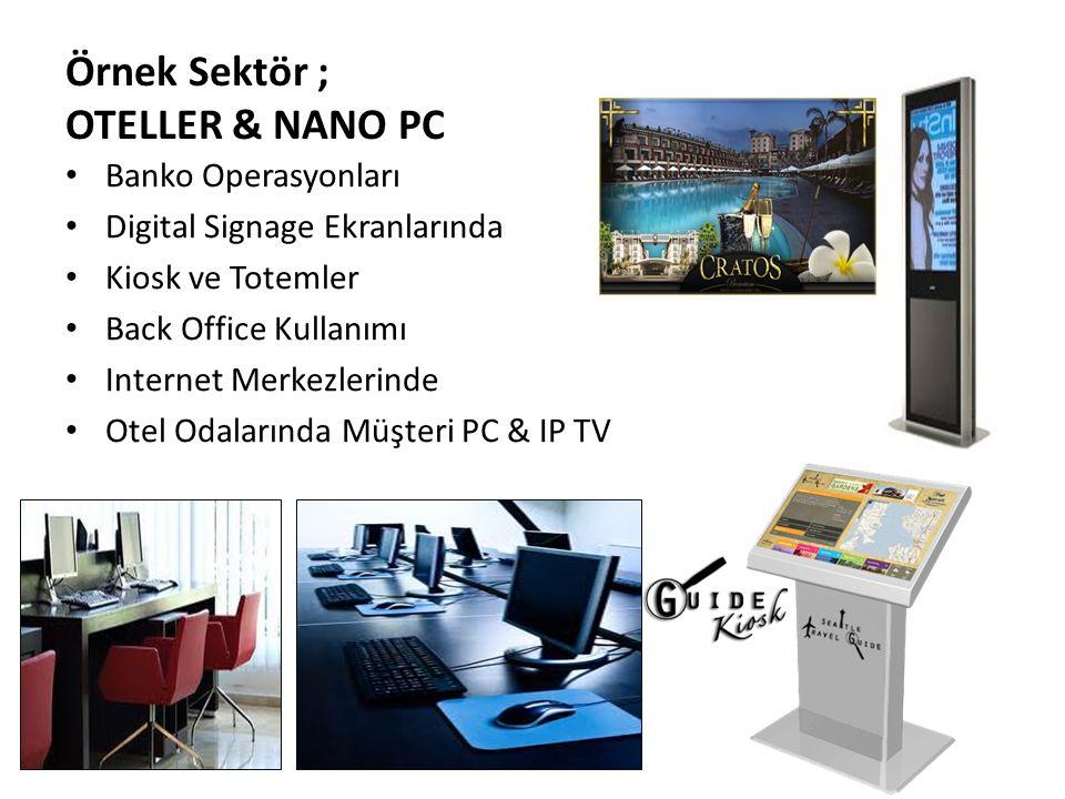 Örnek Sektör ; OTELLER & NANO PC Banko Operasyonları Digital Signage Ekranlarında Kiosk ve Totemler Back Office Kullanımı Internet Merkezlerinde Otel