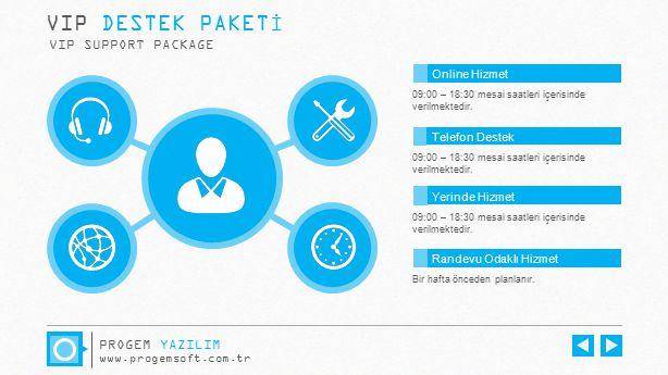 VIP DESTEK PAKETİ VIP SUPPORT PACKAGE 09:00 – 18:30 mesai saatleri içerisinde verilmektedir. Bir hafta önceden planlanır. Online Hizmet Telefon Destek