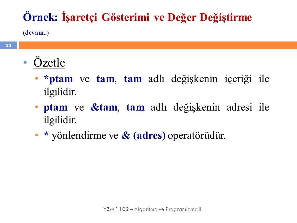 Örnek: İşaretçi Gösterimi ve Değer Değiştirme (devam..) 23 YZM 1102 – Algoritma ve Programlama II Özetle *ptam ve tam, tam adlı değişkenin içeriği ile ilgilidir.