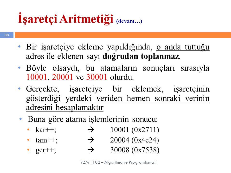 33 YZM 1102 – Algoritma ve Programlama II Bir işaretçiye ekleme yapıldığında, o anda tuttuğu adres ile eklenen sayı doğrudan toplanmaz.