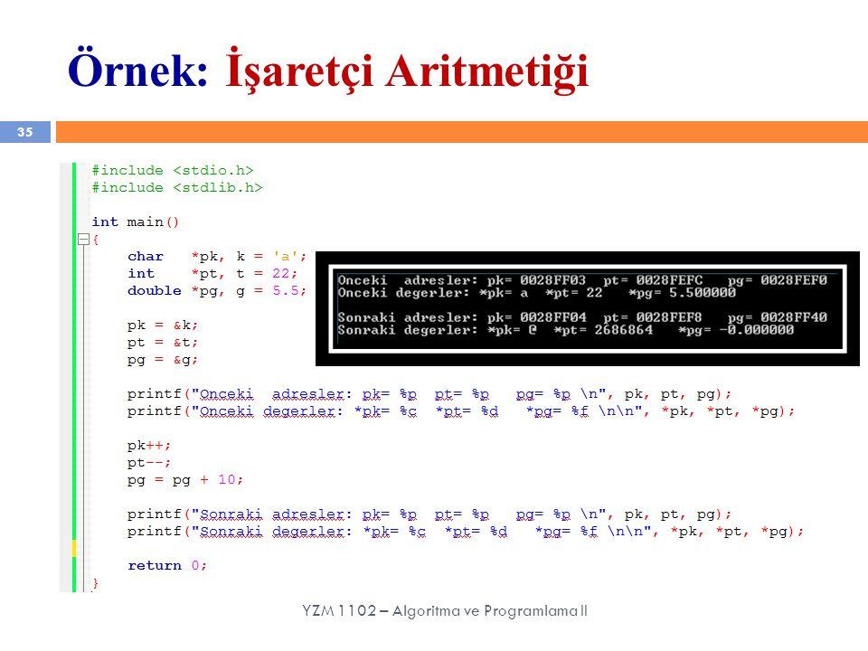 Örnek: İşaretçi Aritmetiği 35 YZM 1102 – Algoritma ve Programlama II
