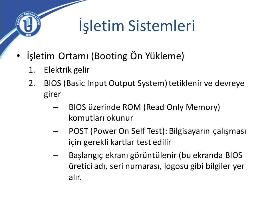 İşletim Sistemleri İşletim Ortamı (Booting Ön Yükleme) 1.Elektrik gelir 2.BIOS (Basic Input Output System) tetiklenir ve devreye girer – BIOS üzerinde