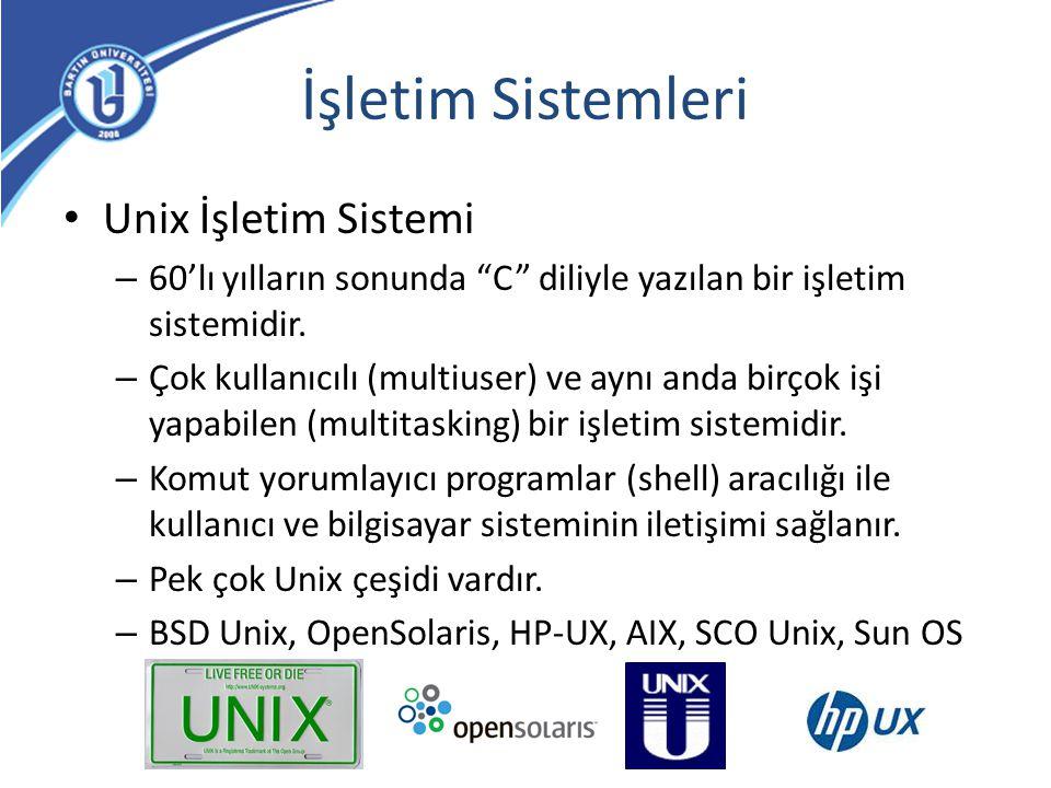 """İşletim Sistemleri Unix İşletim Sistemi – 60'lı yılların sonunda """"C"""" diliyle yazılan bir işletim sistemidir. – Çok kullanıcılı (multiuser) ve aynı and"""