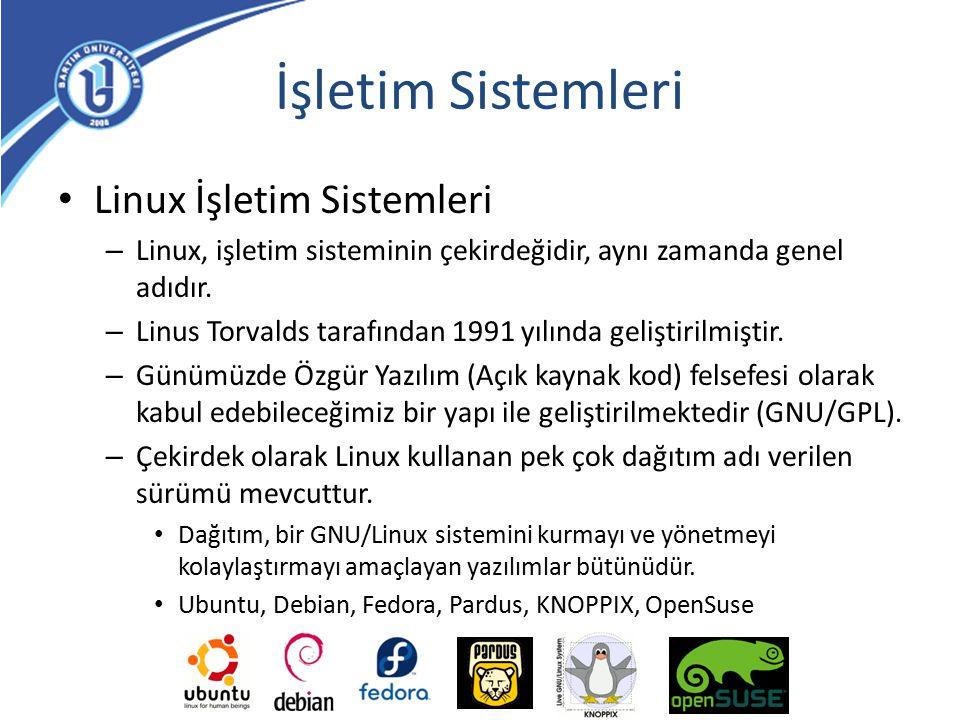 İşletim Sistemleri Linux İşletim Sistemleri – Linux, işletim sisteminin çekirdeğidir, aynı zamanda genel adıdır. – Linus Torvalds tarafından 1991 yılı