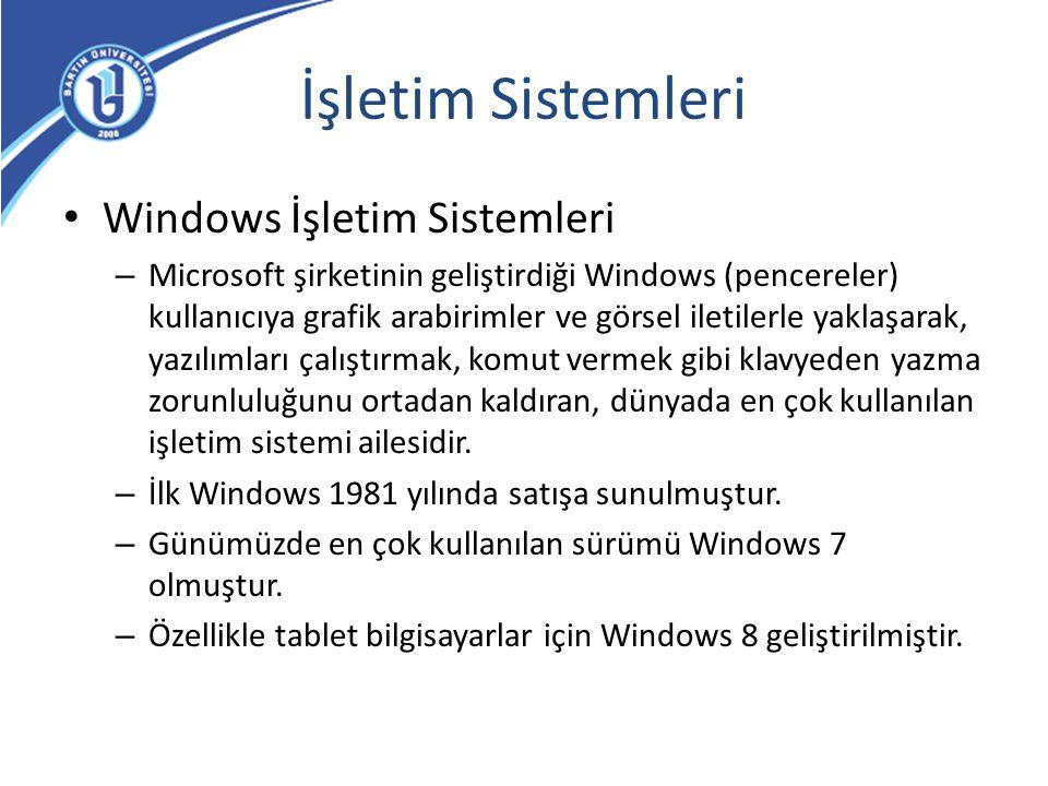 İşletim Sistemleri Windows İşletim Sistemleri – Microsoft şirketinin geliştirdiği Windows (pencereler) kullanıcıya grafik arabirimler ve görsel iletil