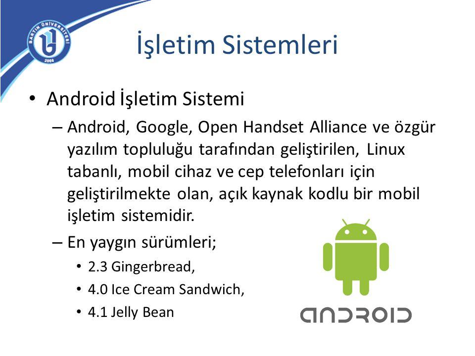 İşletim Sistemleri Android İşletim Sistemi – Android, Google, Open Handset Alliance ve özgür yazılım topluluğu tarafından geliştirilen, Linux tabanlı,