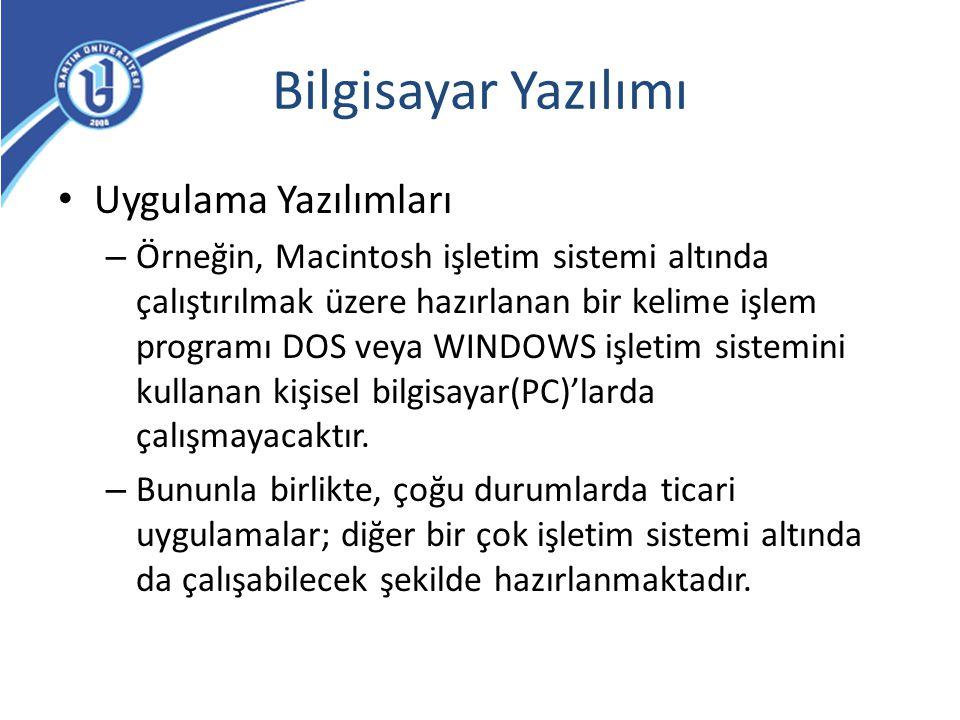 Bilgisayar Yazılımı Uygulama Yazılımları – Örneğin, Macintosh işletim sistemi altında çalıştırılmak üzere hazırlanan bir kelime işlem programı DOS vey