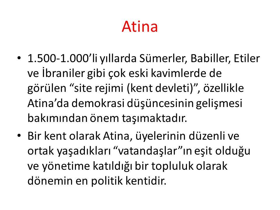 """Atina 1.500-1.000'li yıllarda Sümerler, Babiller, Etiler ve İbraniler gibi çok eski kavimlerde de görülen """"site rejimi (kent devleti)"""", özellikle Atin"""
