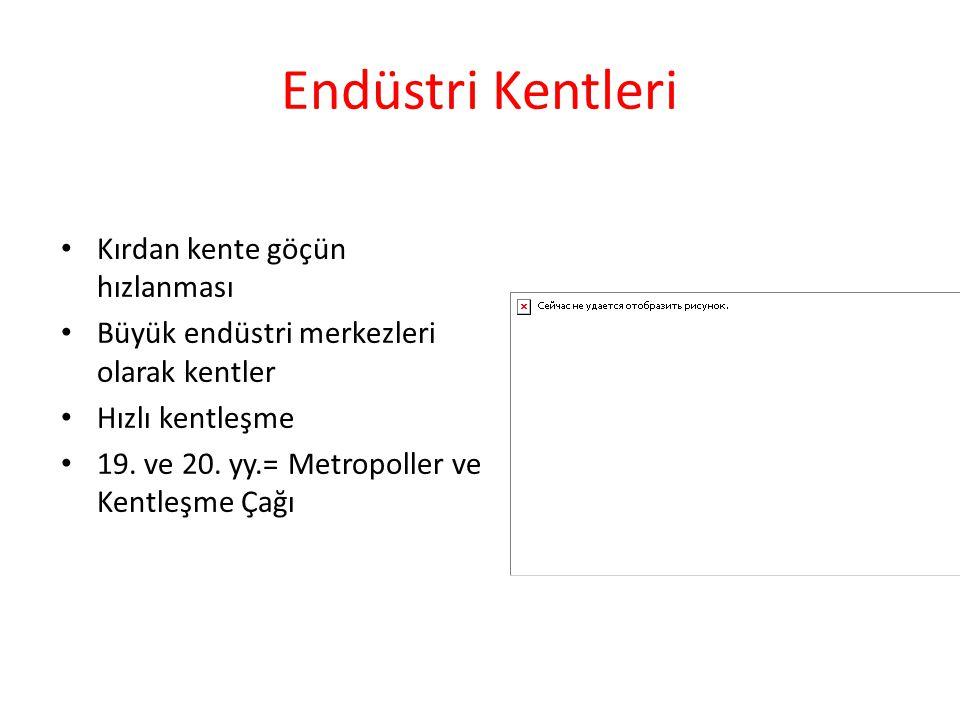 Endüstri Kentleri Kırdan kente göçün hızlanması Büyük endüstri merkezleri olarak kentler Hızlı kentleşme 19. ve 20. yy.= Metropoller ve Kentleşme Çağı