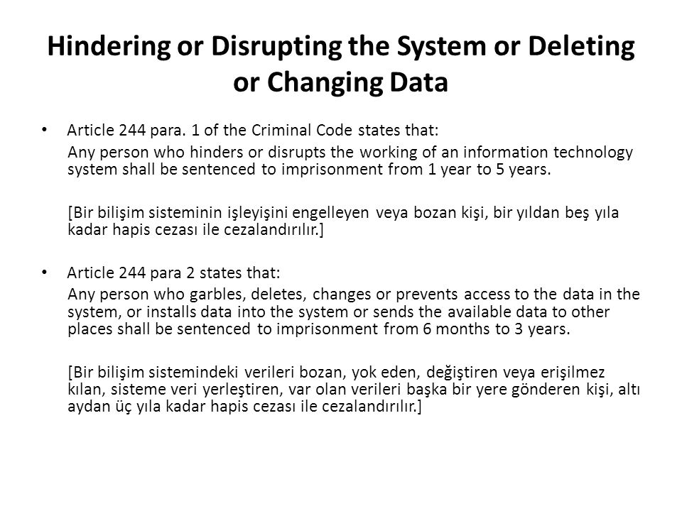 Hindering or Disrupting the System or Deleting or Changing Data Article 244 para.