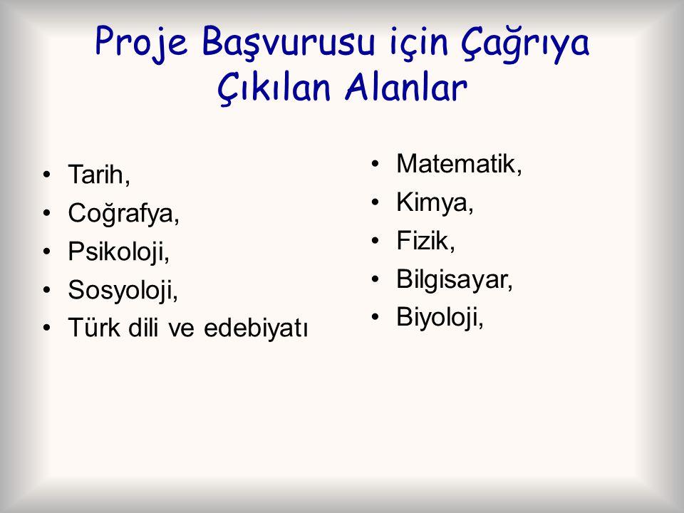 Proje Başvurusu için Çağrıya Çıkılan Alanlar Tarih, Coğrafya, Psikoloji, Sosyoloji, Türk dili ve edebiyatı Matematik, Kimya, Fizik, Bilgisayar, Biyolo