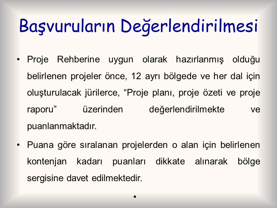 Başvuruların Değerlendirilmesi Proje Rehberine uygun olarak hazırlanmış olduğu belirlenen projeler önce, 12 ayrı bölgede ve her dal için oluşturulacak