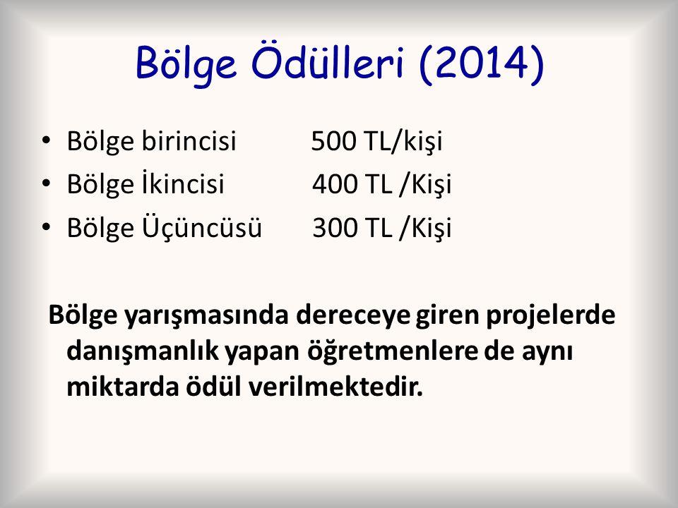 Bölge Ödülleri (2014) Bölge birincisi 500 TL/kişi Bölge İkincisi400 TL /Kişi Bölge Üçüncüsü300 TL /Kişi Bölge yarışmasında dereceye giren projelerde d