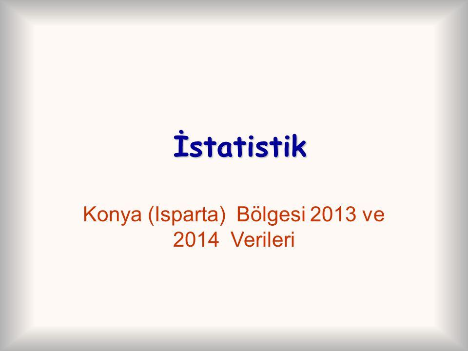İstatistik İstatistik Konya (Isparta) Bölgesi 2013 ve 2014 Verileri