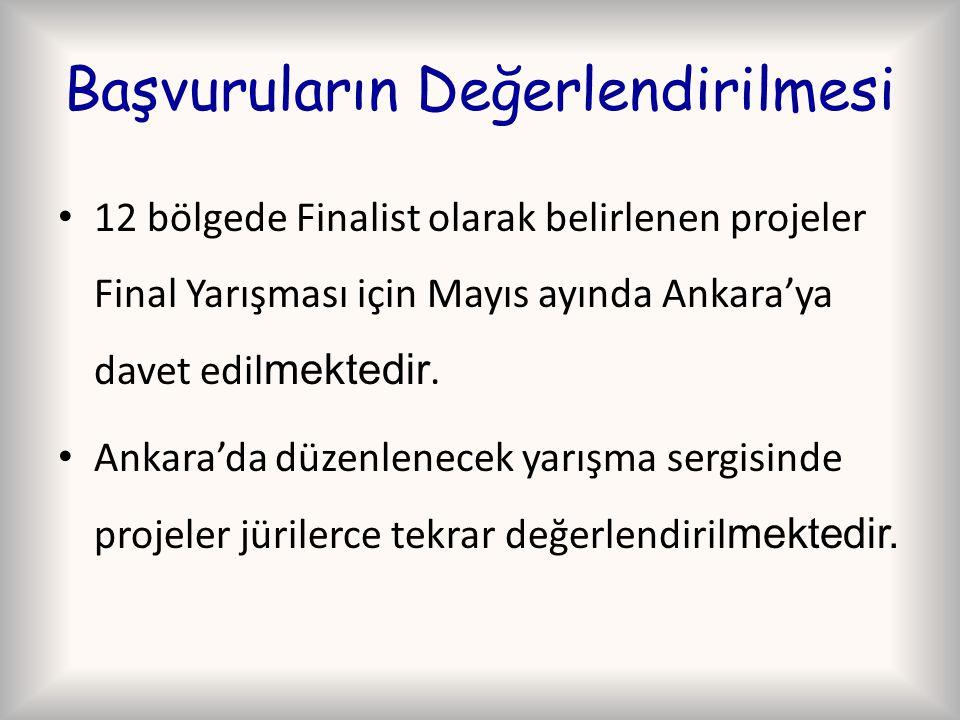 Başvuruların Değerlendirilmesi 12 bölgede Finalist olarak belirlenen projeler Final Yarışması için Mayıs ayında Ankara'ya davet edil mektedir. Ankara'