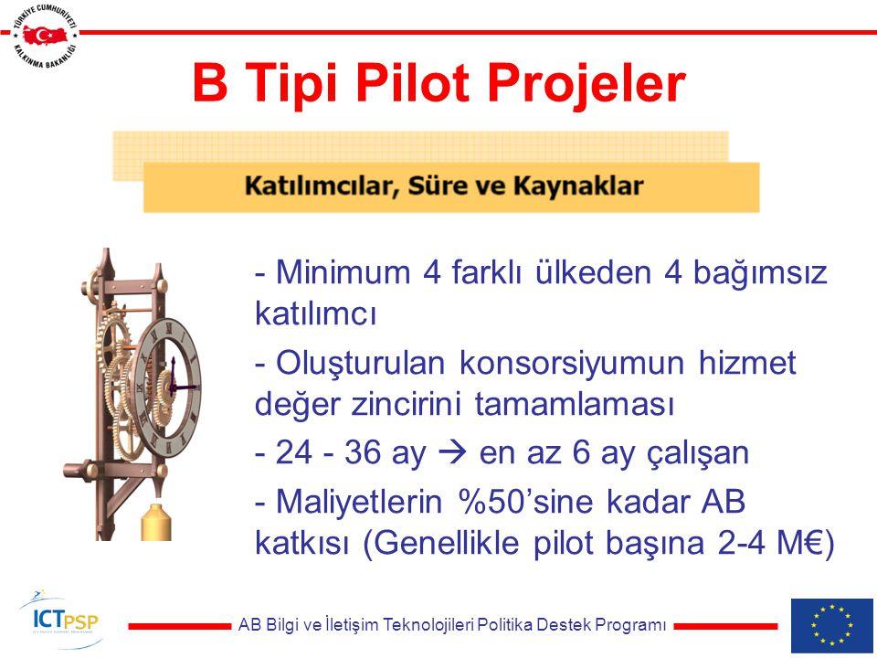 AB Bilgi ve İletişim Teknolojileri Politika Destek Programı B Tipi Pilot Projeler - Minimum 4 farklı ülkeden 4 bağımsız katılımcı - Oluşturulan konsorsiyumun hizmet değer zincirini tamamlaması - 24 - 36 ay  en az 6 ay çalışan - Maliyetlerin %50'sine kadar AB katkısı (Genellikle pilot başına 2-4 M€)