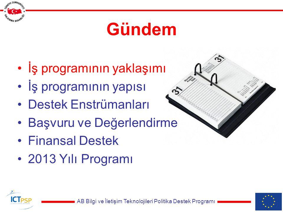 AB Bilgi ve İletişim Teknolojileri Politika Destek Programı Tekliflerin Değerlendirilmesi Bağımsız değerlendirme uzmanları Çalışma Programı hedeflerine uyum Değerlendirme kriterleri –Uygunluk (Eligibility) –Ödüllendirme (Award) –Seçim (Selection)