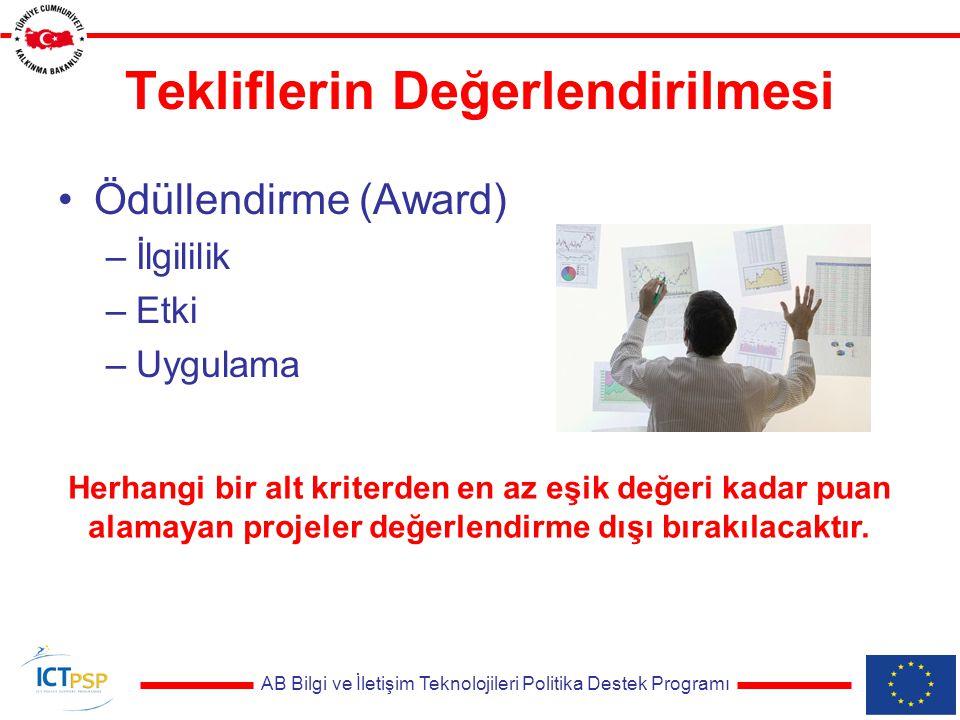 AB Bilgi ve İletişim Teknolojileri Politika Destek Programı Tekliflerin Değerlendirilmesi Ödüllendirme (Award) –İlgililik –Etki –Uygulama Herhangi bir alt kriterden en az eşik değeri kadar puan alamayan projeler değerlendirme dışı bırakılacaktır.