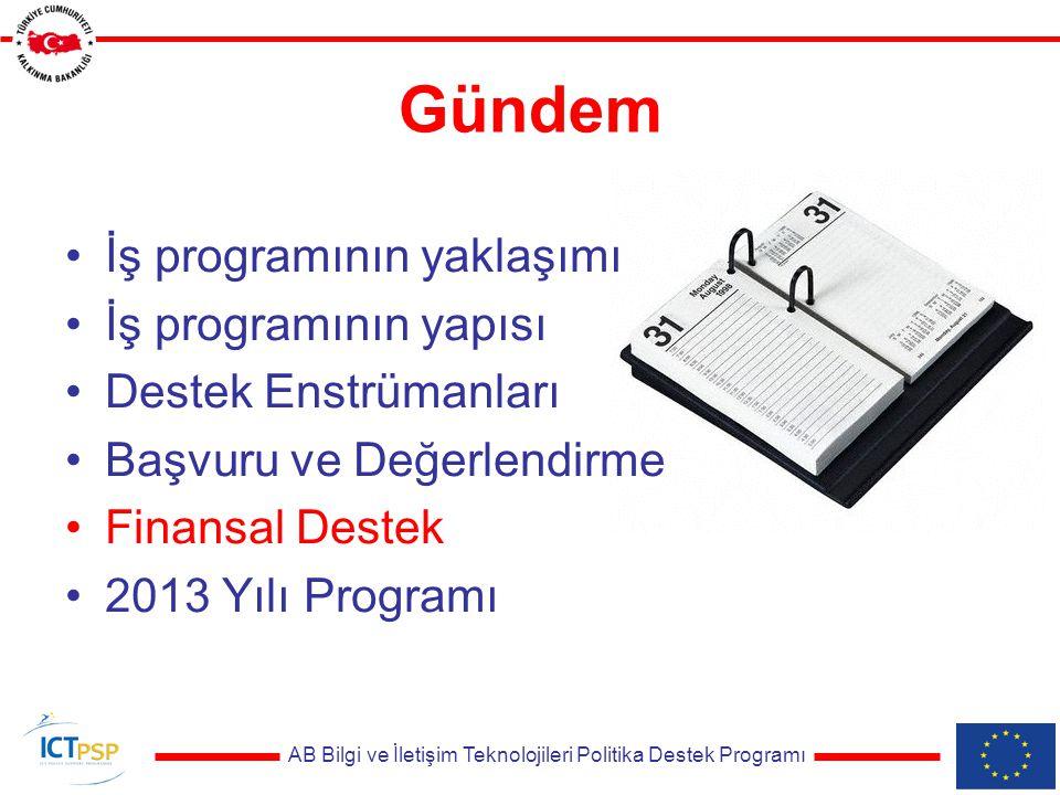 AB Bilgi ve İletişim Teknolojileri Politika Destek Programı Gündem İş programının yaklaşımı İş programının yapısı Destek Enstrümanları Başvuru ve Değerlendirme Finansal Destek 2013 Yılı Programı