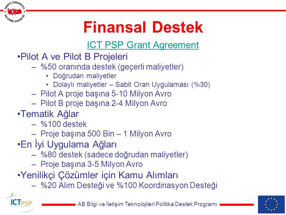 AB Bilgi ve İletişim Teknolojileri Politika Destek Programı Finansal Destek ICT PSP Grant Agreement Pilot A ve Pilot B Projeleri –%50 oranında destek (geçerli maliyetler) Doğrudan maliyetler Dolaylı maliyetler – Sabit Oran Uygulaması (%30) –Pilot A proje başına 5-10 Milyon Avro –Pilot B proje başına 2-4 Milyon Avro Tematik Ağlar –%100 destek –Proje başına 500 Bin – 1 Milyon Avro En İyi Uygulama Ağları –%80 destek (sadece doğrudan maliyetler) –Proje başına 3-5 Milyon Avro Yenilikçi Çözümler için Kamu Alımları –%20 Alım Desteği ve %100 Koordinasyon Desteği